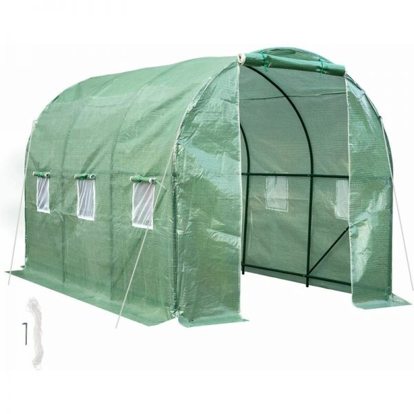 Greenhouse foil tunnel - polytunnel, walk in greenhouse, garden greenhouse - green