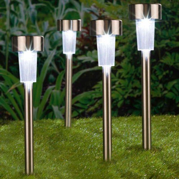 HI LED Solar Garden Light 4pcs Stainless Steel 36 cm - Silver