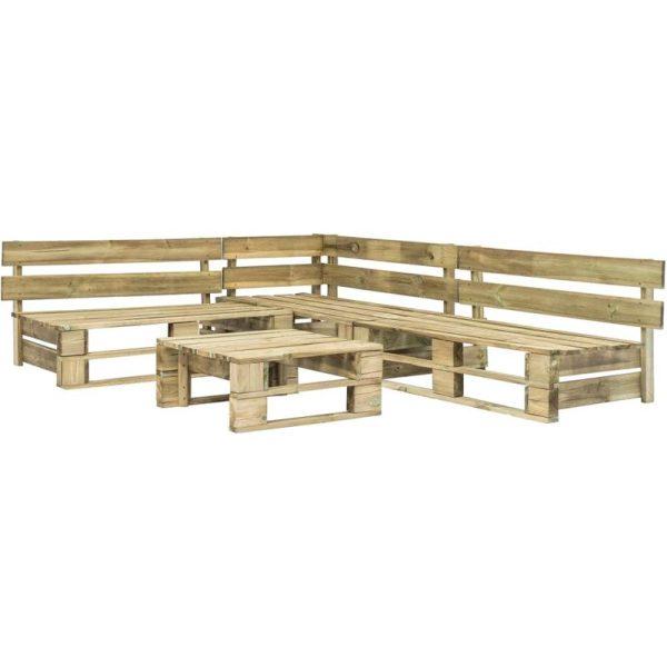 Hommoo 4 Piece Garden Lounge Set Pallets FSC Wood Green VD19133