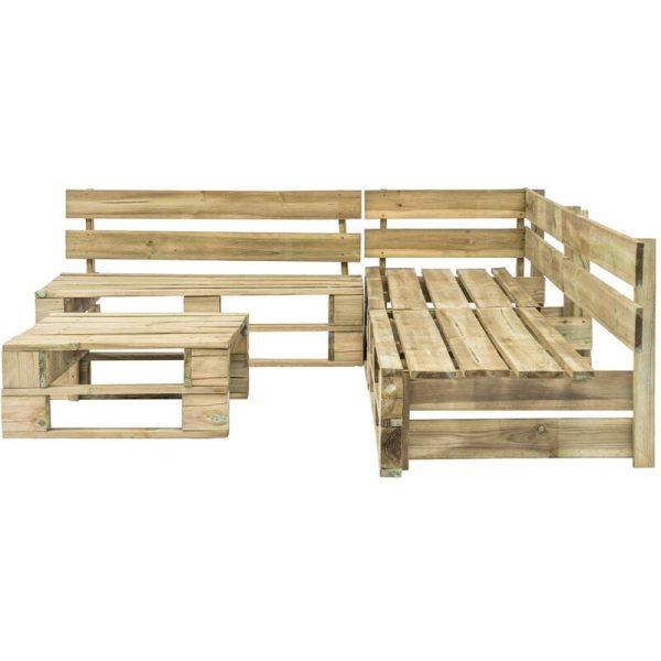 Hommoo 4 Piece Garden Lounge Set Pallets Wood QAH19133