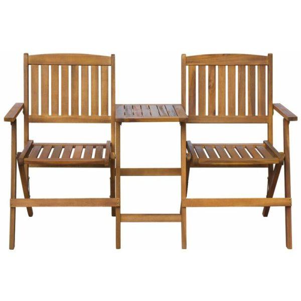Hommoo Folding Garden Bench with Tea Table 140 cm Solid Acacia Wood QAH27164