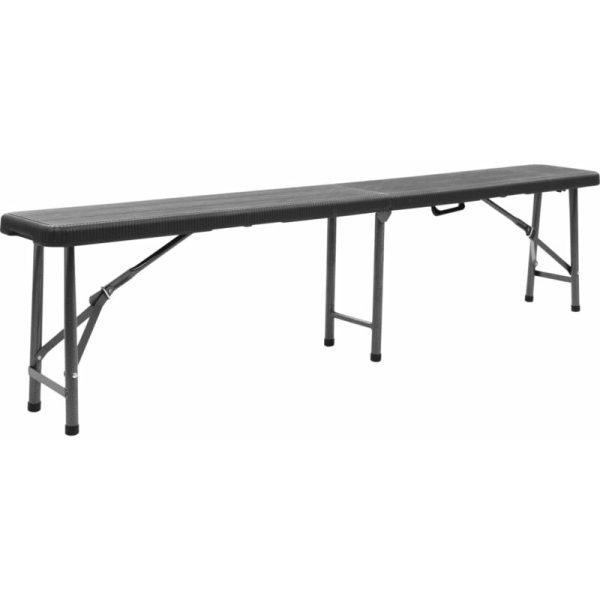 Hommoo Folding Garden Benches 2 pcs 180 cm HDPE Black QAH46719