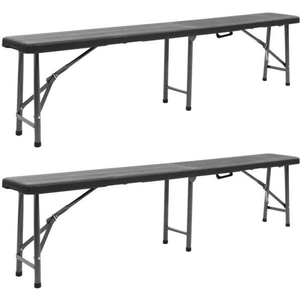 Hommoo Folding Garden Benches 2 pcs 180 cm HDPE Black VD46719