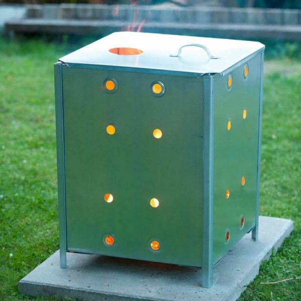 Nature Garden Incinerator Galvanised Steel 46x46x65 cm Square