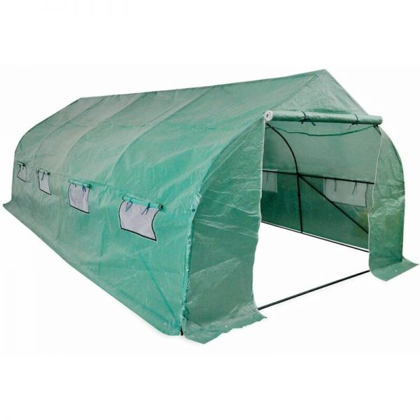 Portable Polytunnel Greenhouse Steel Frame Walk-in 18 m - Green