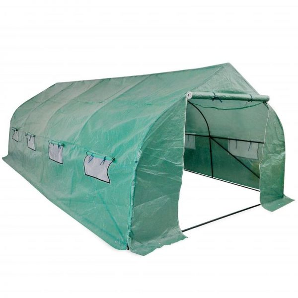 Portable Polytunnel Greenhouse Steel Frame Walk-in 18 m2 VD27376 - Hommoo
