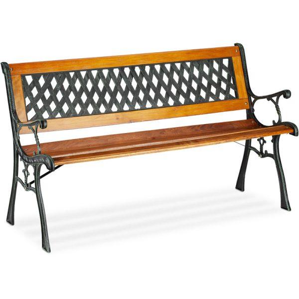 Relaxdays 2-Seater Garden Bench, Decorative Backrest, Cast Iron, Wood, Park Bench, HxWxD 73 x 125 x 52 cm, Natural