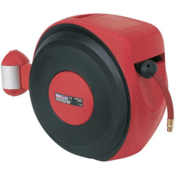 SA821 Air Hose Reel Auto-Rewind Control 10m Ø8mm ID - PU Hose - Sealey