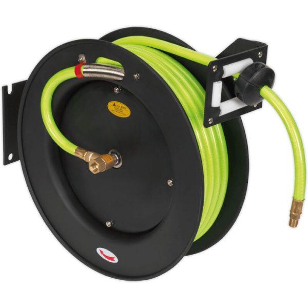 SA841HV Retractable Air Hose Metal Reel 15m Ø10mm ID High Visibility TPR Hose - Sealey