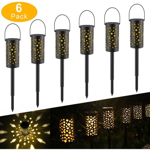 Solar Powered Ground Light Outdoor Garden Lights LED Pathway Lantern Stake Lamp Decoration 6 pack - Tomshine