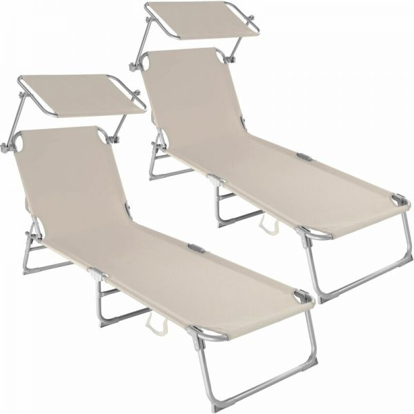 Tectake - 2 Sun loungers with sun shade - reclining sun lounger, sun chair, foldable sun lounger - beige