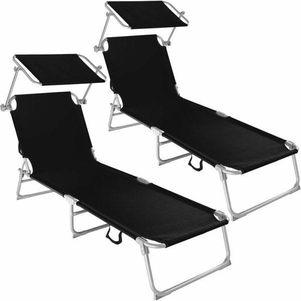 Tectake - 2 Sun loungers with sun shade - reclining sun lounger, sun chair, foldable sun lounger - black