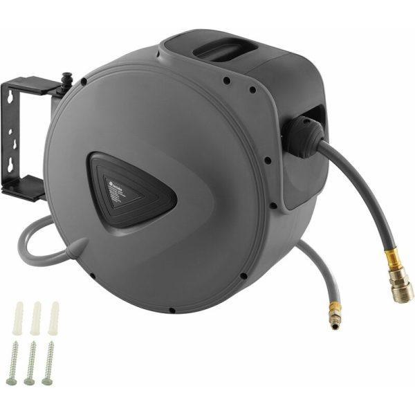 Tectake - Compressed Air Hose with Drum - 20 m - grey