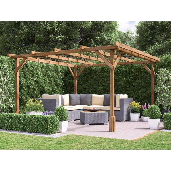 Utopia Wooden Pergola Garden Canopy Plants Frame W3m x D3m (9' 10' x 9' 10')