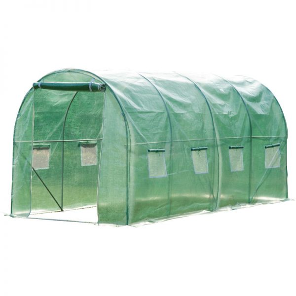 Walk in Polytunnel Garden Greenhouse w/ Windows and Doors - 4 x 2 (m) - Outsunny
