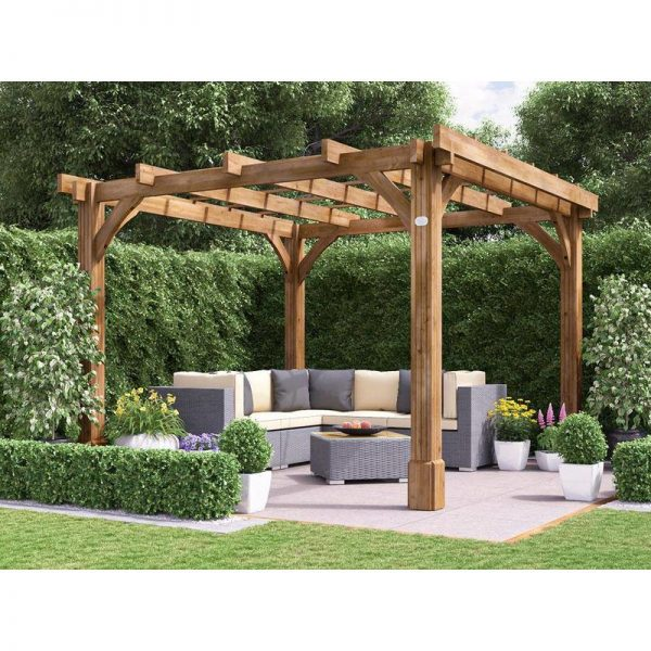 Wooden Pergola Garden Canopy Shade Plant Frame Furniture Kit - Atlas 3m x 3m