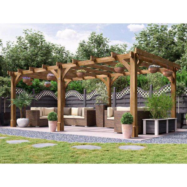 Wooden Pergola Garden Canopy Shade Plant Frame Furniture Kit - Atlas 6m x 3m