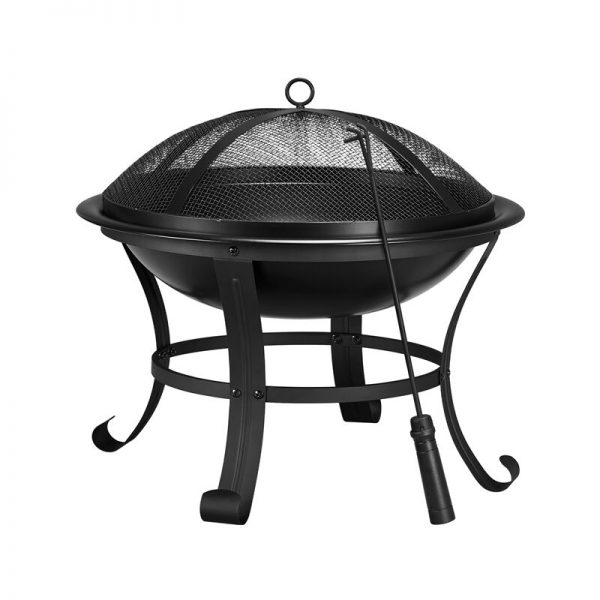 Yaheetech - 54cm Outdoor Square Fire Pit BBQ Fire Pit Brazier Multi-function Large Garden Patio Heater With Poker/ Dust Mesh