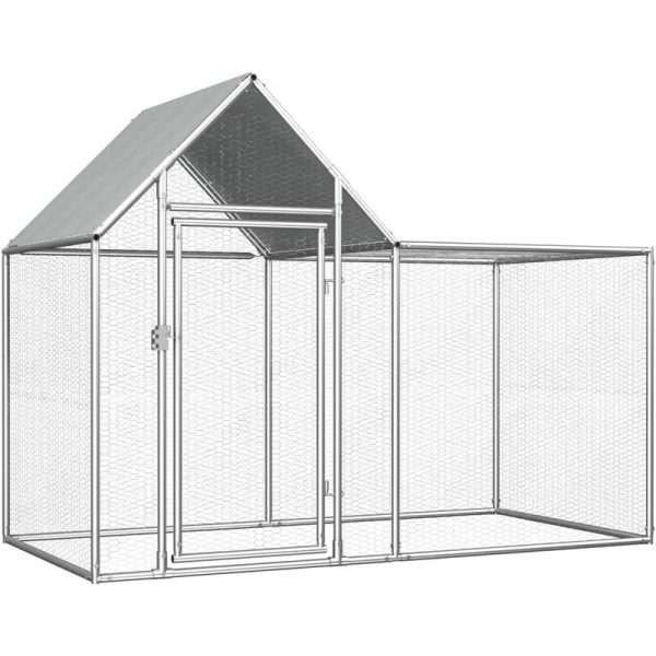 Youthup - Chicken Coop 2x1x1.5 m Galvanised Steel