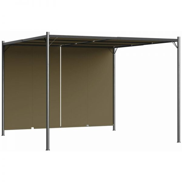Youthup - Garden Pergola with Retractable Roof 3x3 m Taupe 180 g/m²