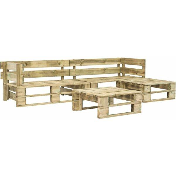 vidaXL 4 Piece Garden Lounge Set Pallets Wood - Brown