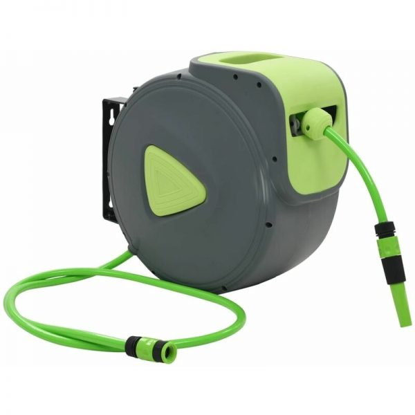 vidaXL Automatic Retractable Water Hose Reel Wall Mounted 30+2 m - Green