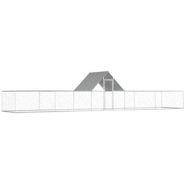 vidaXL Chicken Coop 10x2x2 m Galvanised Steel - Silver
