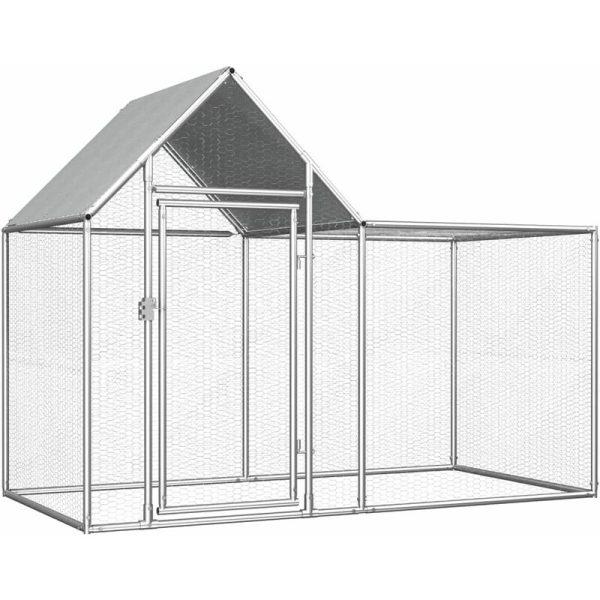 vidaXL Chicken Coop 2x1x1.5 m Galvanised Steel - Silver