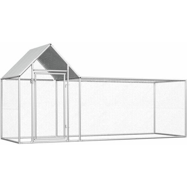 vidaXL Chicken Coop 3x1x1.5 m Galvanised Steel - Silver