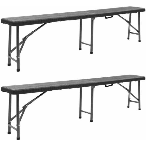 vidaXL Folding Garden Benches 2 pcs 180 cm HDPE Black - Black