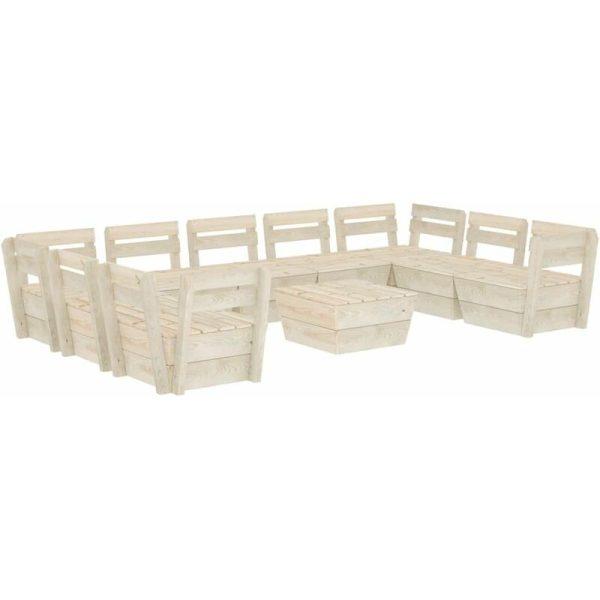 10 Piece Garden Pallet Lounge Set Impregnated Spruce Wood - Vidaxl