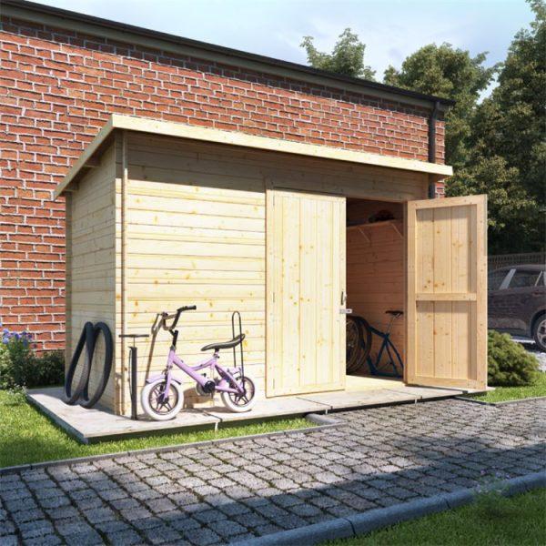 10 x 6 Pressure Treated Log Cabin - BillyOh Pent Log Cabin Windowless Heavy Duty Bike Store Range - 10x6 Log Cabin Double Door - 19mm