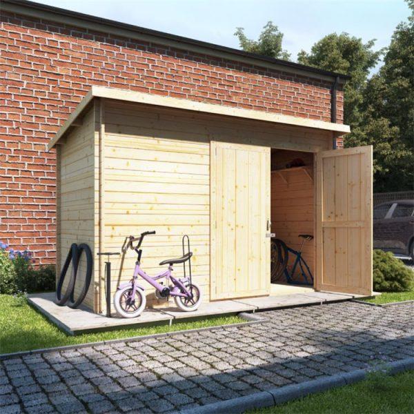 10 x 6 Pressure Treated Log Cabin - BillyOh Pent Log Cabin Windowless Heavy Duty Bike Store Range - 10x6 Log Cabin Double Door - 28mm