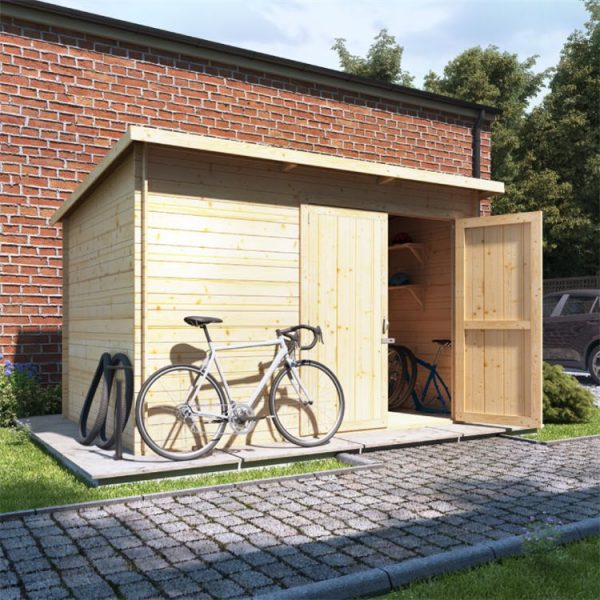 10 x 8 Log Cabin - BillyOh Pent Log Cabin Windowless Heavy Duty Bike Store Range - 10x8 Log Cabin Double Door - 19mm