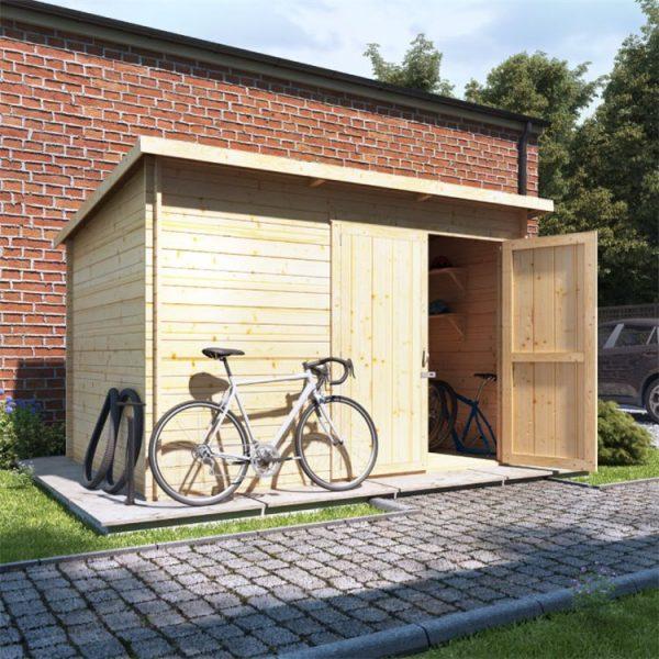 10 x 8 Pressure Treated Log Cabin - BillyOh Pent Log Cabin Windowless Heavy Duty Bike Store Range - 10x8 Log Cabin Double Door - 28mm