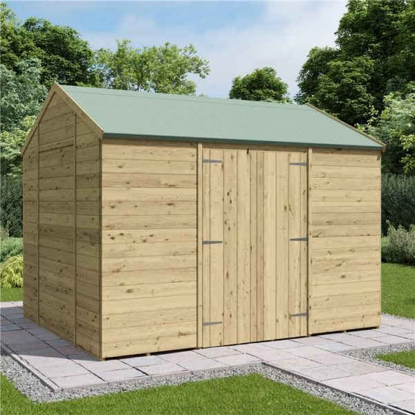 10 x 8 Pressure Treated Shed - BillyOh Expert Reverse Workshop Garden Shed - Windowless