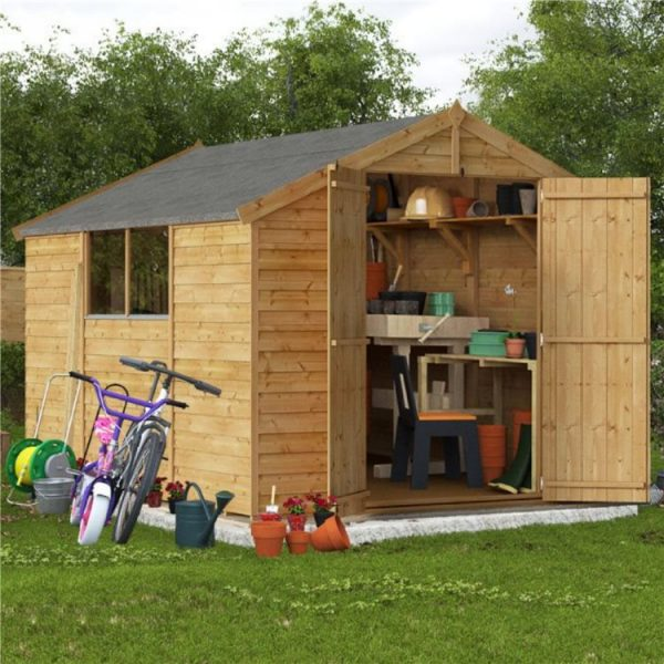 10 x 8 Shed - BillyOh Keeper Overlap Apex Wooden Shed - Windowed 10x8 Garden Shed