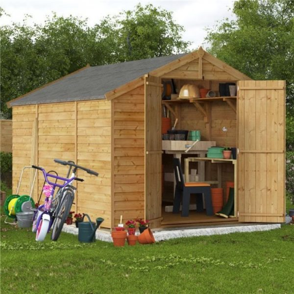 10 x 8 Shed - BillyOh Keeper Overlap Apex Wooden Shed - Windowless 10x8 Garden Shed