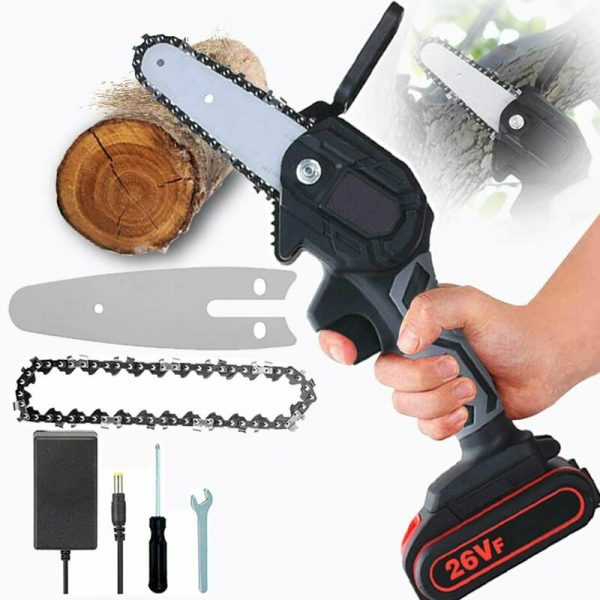 10cm Cordless Mini Chainsaw, 26V Rechargeable Mini Chainsaw, Adjustable Speed ??Portable Pruning Saw with Battery, For Cutting Wood, Trimming