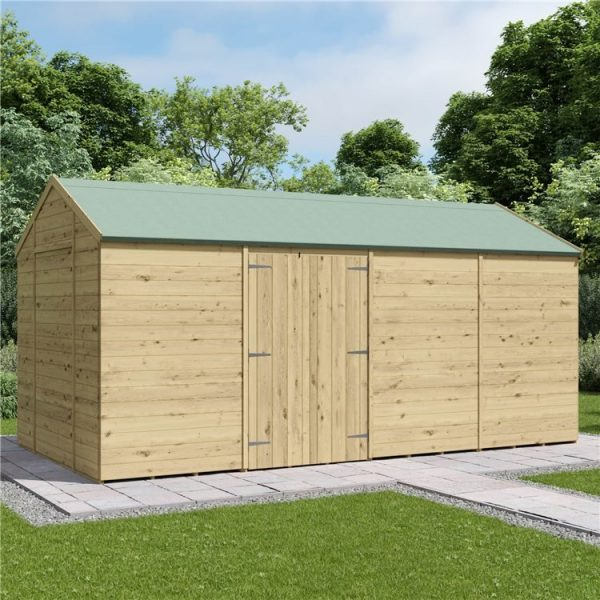 12 x 10 Pressure Treated Shed - BillyOh Expert Reverse Workshop Garden Shed - Windowless