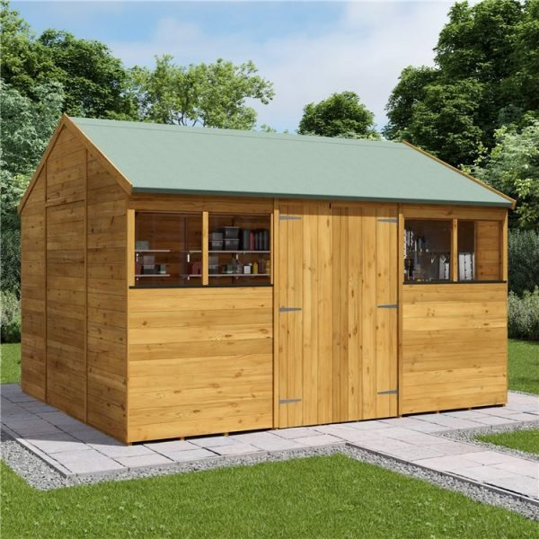 12 x 10 Shed - BillyOh Expert Reverse Workshop Garden Shed - Windowed