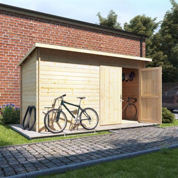 12 x 6 Pressure Treated Log Cabin - BillyOh Pent Log Cabin Windowless Heavy Duty Bike Store Range - 12x6 Log Cabin Double Door - 28mm