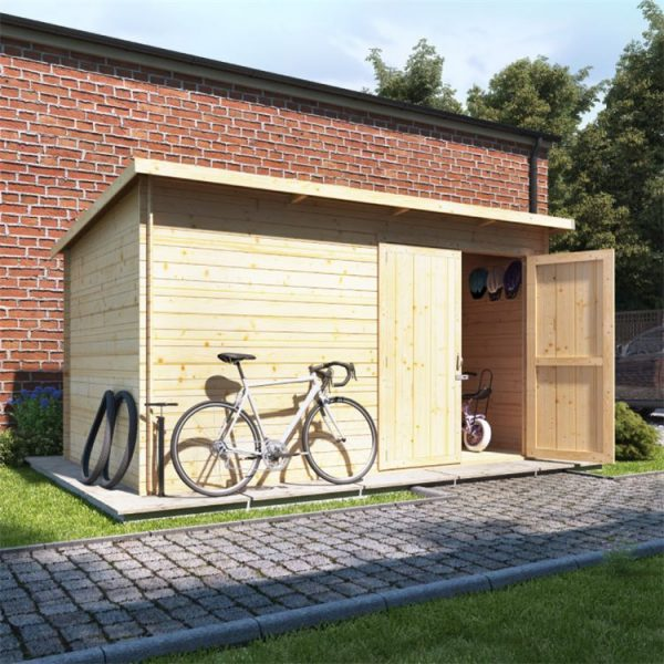 12 x 8 Pressure Treated Log Cabin - BillyOh Pent Log Cabin Windowless Heavy Duty Bike Store Range - 12x8 Log Cabin Double Door - 19mm