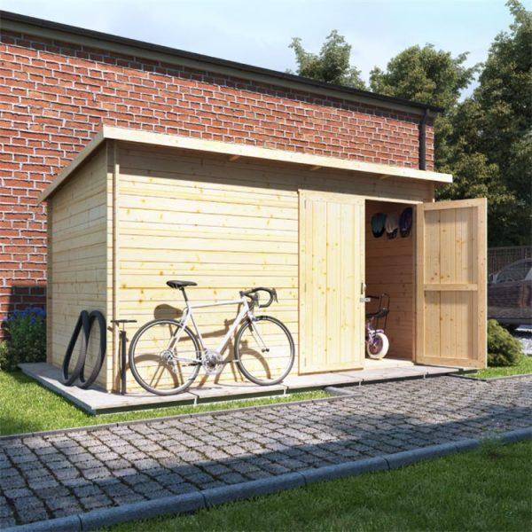 12 x 8 Pressure Treated Log Cabin - BillyOh Pent Log Cabin Windowless Heavy Duty Bike Store Range - 12x8 Log Cabin Double Door - 28mm