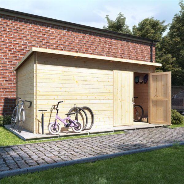 14 x 8 Log Cabin - BillyOh Pent Log Cabin Windowless Heavy Duty Bike Store Range - 14x8 Log Cabin Double Door - 19mm