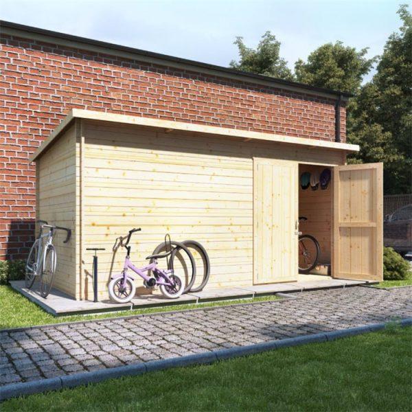 14 x 8 Log Cabin - BillyOh Pent Log Cabin Windowless Heavy Duty Bike Store Range - 14x8 Log Cabin Double Door - 28mm