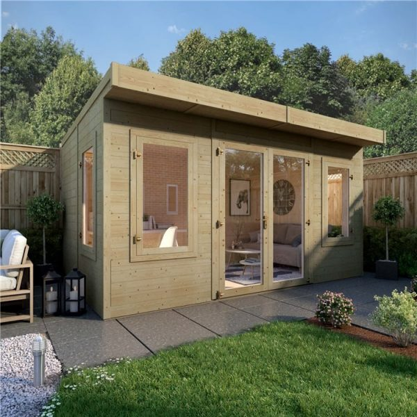 14ft x 8ft Pressure Treated BillyOh Outpost Insulated Building - Wooden Garden Office Building With Insulation