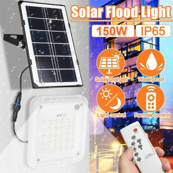150W Outdoor Solar Lights, Solar Security Lights with Solar Panel Floodlights Outdoor Wall Waterproof Solar Sconces for Yard Garden Garage Patio Porch