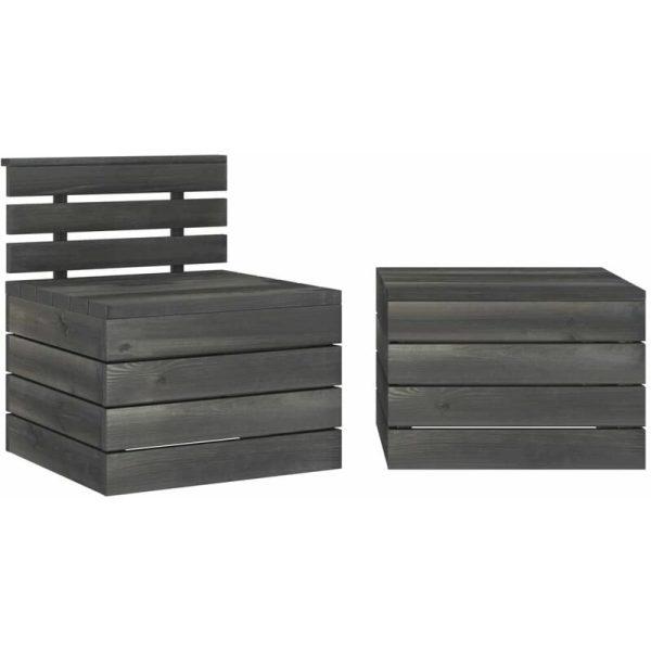 2 Piece Garden Pallet Lounge Set Solid Pinewood Dark Grey - Grey - Vidaxl