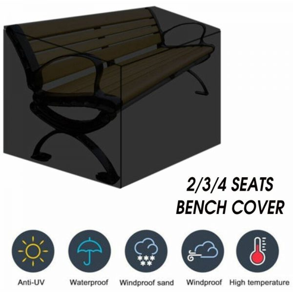 2/3/4 Seat Bench Chair Office Furniture Waterproof Cover Parkland Garden Protector (3 Seats - 162x66x89cm)